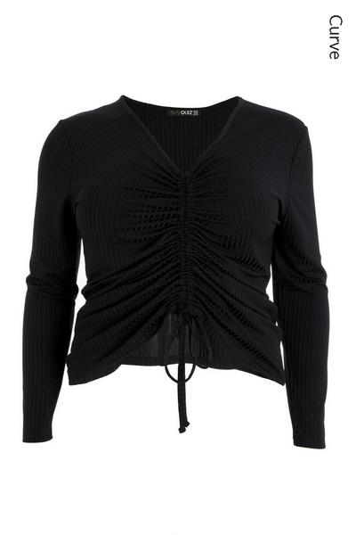 Curve Black Ruched Front Top